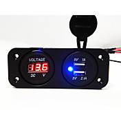 Dobbel USB 2.0-biladapter med LED-spenningsindikator LCD-skjerm