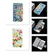 Funda Para iPhone 5 Apple Funda iPhone 5 Soporte de Coche Flip Funda de Cuerpo Entero Flor Dura Cuero de PU para iPhone SE/5s iPhone 5