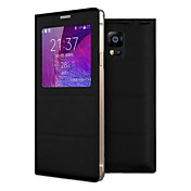 Para Samsung Galaxy Note con Ventana / Flip Funda Cuerpo Entero Funda Un Color Cuero Sintético Samsung Note 4