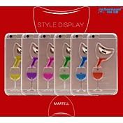 sanlead pc martell-botella con la caja de goma y el líquido de arena de vuelta para iPhone6 plus, 6s más (colores surtidos)