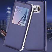 Etui Til Samsung Galaxy Samsung Galaxy S7 Edge med vindu Autodvale / aktivasjon Flipp Heldekkende etui Helfarge PU Leather til S7 edge S7