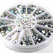 Encantador-Dedo-Joyas de Uñas-Acrílico-1wheel White AB nail decorations-6cm wheel- (cm)