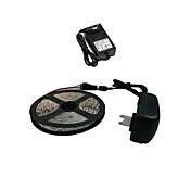 z®zdm 5m 300x3528 smd 따뜻한 흰색 led 스트립 조명 및 커넥터 및 ac110-240v to dc12v2a eu / us 변압기