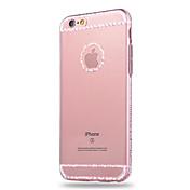 Para Funda iPhone 6 / Funda iPhone 6 Plus Diamantes Sintéticos / Transparente Funda Cubierta Trasera Funda Un Color Suave TPUiPhone 6s