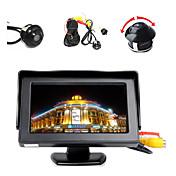 """4.3 """"monitor de pantalla a color LCD + 360 / lados / hd cámara de aparcamiento trasera inversa ° delante"""