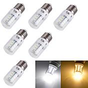 6pcs 3W 3000/6000lm E14 E26 / E27 LED-kornpærer T 24 LED perler SMD 5730 Dekorativ Varm hvit Kjølig hvit 110-130V 220-240V