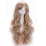 Syntetisk hår Parykker Krop Bølge Side del Med lugg Lokkløs Karneval Parykk Halloween parykk Lang Blond