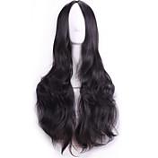 Syntetisk hår Parykker Krøllet Bølget Lokkløs Svart