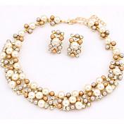 Mujer Perla Perla Artificial Perla de oro Conjunto de joyas Pendientes Collare - Bonito Fiesta Trabajo Europeo Juego de Joyas Collar /