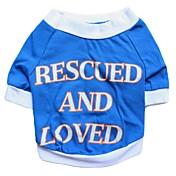 Perros Camiseta Azul Ropa para Perro Verano Flores / Botánica Moda