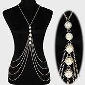Perla En Capas / Borla Cinturones metálicos / Para Cuerpo / collar arnés - Perla, Perla Artificial Borla, Europeo, Bikini Mujer Dorado / Plata Joyería Corporal Para Regalos de Navidad / Diario