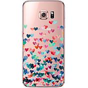 Funda Para Samsung Galaxy Samsung Galaxy S7 Edge Transparente Diseños Funda Trasera Corazón Suave TPU para S7 edge S7 S6 edge plus S6