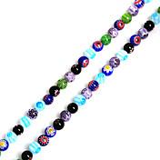 beadia 38cm / STR 6mm perlas de vidrio flor Millefiori redondas (1.0mm hole)