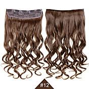 """합성 머리 확장 클립 24 """"120g 부드러운 섬유 머리 # 12 갈색 곱슬 가발은 발산 물결 모양 없습니다"""