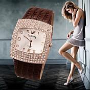 Dame Simulert Diamant Klokke Moteklokke Quartz Imitasjon Diamant Hverdagsklokke Lær Band Sjarm Svart Hvit Sølv Rød
