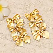 12PCS 메리 크리스마스 트리 장식 골드 bowknot 스타일의 꽃 지팡이 장식 연회 파티 용품