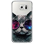 Funda Para Samsung Galaxy Samsung Galaxy S7 Edge Ultrafina Traslúcido Funda Trasera Gato Suave TPU para S7 edge S7 S6 edge plus S6 edge