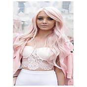 여성 긴 밝은 핑크 웨이브 사이드 파트 강타와 함께 인조 합성 헤어 코스플레이 가발