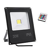30w ip65 rgb color de la luz llevó la luz de inundación impermeable al aire libre proyectores de lámparas de pared (85-265V)