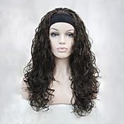 Syntetiske parykker Bølget tetthet Lokkløs Dame Brun Karneval Parykk Halloween parykk Halv Parykk Syntetisk hår