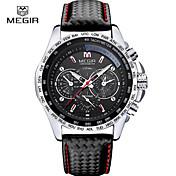MEGIR Hombre Reloj Deportivo Reloj de Vestir Reloj de Pulsera Cuarzo Calendario Cronógrafo Noctilucente / Piel Banda Casual Negro Marrón
