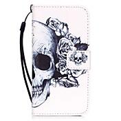 Etui Til Apple iPhone X iPhone 8 iPhone 6 iPhone 7 Plus iPhone 7 Kortholder Mønster Heldekkende etui Hodeskaller Hard PU Leather til