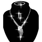 Mujer Juego de Joyas Los sistemas nupciales de la joyería Moda joyería de disfraz Cobre Brillante Plateado Collares Pendientes Argollas