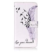 Etui Til Apple iPhone 6 iPhone 7 Plus iPhone 7 Kortholder Lommebok med stativ Flipp Mønster Inngravert Heldekkende etui Fjær Hard PU