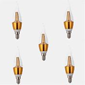 5pcs 2700-3500lm E14 LED-lysestakepærer CA35 25LED LED perler SMD 2835 Dekorativ Varm hvit 220-240V