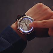 Herre Unike kreative Watch Armbåndsur Digital Pekeskjerm LED Lær Band Sjarm Svart