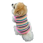 Gato Perro Camiseta Chaleco Ropa para Perro Rayas Arco iris Algodón Disfraz Para mascotas Hombre Mujer Bonito Casual/Diario Vacaciones