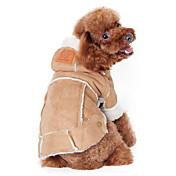 Perro Abrigos Saco y Capucha Ropa para Perro Un Color Café Wine Morrón Oscuro Algodón Disfraz Para mascotas Hombre Mujer Mantiene
