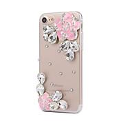 용 케이스 커버 크리스탈 뒷면 커버 케이스 꽃장식 하드 PC 용 Apple 아이폰 7 플러스 아이폰 (7) iPhone 6s Plus iPhone 6 Plus iPhone 6s 아이폰 6 iPhone SE/5s iPhone 5 iPhone 4s/4