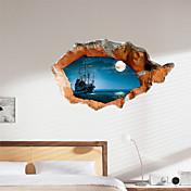 3d vegg klistremerker natt innsjø vann pvc materiale dekorative hud veggen