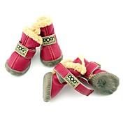 강아지 신발 & 부츠 스노우 부츠 따뜻함 유지 방수 패션 솔리드 브라운 레드 블루 와인 다크 그린
