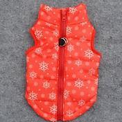 강아지 코트 조끼 강아지 의류 통기성 따뜻함 유지 크리스마스 눈송이 오렌지 코스츔 애완 동물