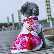 Perros Abrigos Vestidos Ropa para Perro Boda Clásico Año Nuevo Flor Azul Oscuro Rosa Azul Rosa