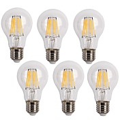 E26/E27 LED필라멘트 전구 A60(A19) 6 LED가 COB 장식 따뜻한 화이트 차가운 화이트 600lm 2700/6500K AC 220-240V