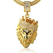 Herre Krone Formet Løve Dyr Form Personalisert Klippe Anheng Halskjede Rhinstein Gylden 18K Gull Fuskediamant Legering Anheng Halskjede
