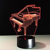 참신 3d 피아노 usb 야간 조명 램프 가제트 7 색 변경 가정 beddside lampara 아이를위한 새해 선물 원격 제어