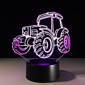 tractor 1pc colorido estéreo visión llevó la lámpara de la luz de la lámpara 3d colorido gradiente de acrílico visión luz de la noche de