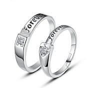 반지 결혼식 파티 일상 캐쥬얼 보석류 지르콘 은 도금 커플 링 미디 반지 새해 맞이 약혼 반지 1 쌍,조절가능 실버