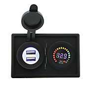 12v ledet digitale displayet voltmeter og 4.2a usb adapter med boliger holder panel for bil båt lastebil rv