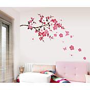 Romantik Mote Blomster Veggklistremerker Fly vægklistermærker Dekorative Mur Klistermærker, Papir Hjem Dekor Veggoverføringsbilde Vegg