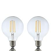 GMY® 2pcs 6W 600 lm E26/E27 Bombillas de Filamento LED G95 4 leds COB Regulable Blanco Cálido AC 220-240V