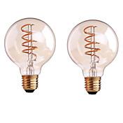 ONDENN 2pcs 4W 400-500lm E26 / E27 B22 Bombillas de Filamento LED G80 1 Cuentas LED COB Regulable Blanco Cálido 110-130V 220-240V