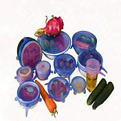 6pcs / set tapa saran de silicona cubierta de silicona pote alimentos tramo cazuela de cocina al vacío tapa selladora universal de color