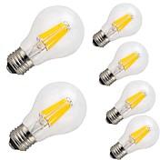 6pcs 9W 1100 lm E26/E27 LED-glødepærer A60(A19) 12 leds COB Dekorativ Varm hvit Kjølig hvit AC 220-240V