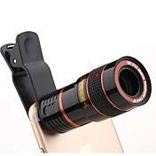 Universal hd 8x justerbart fokus optisk teleskop mobiltelefon kamera linse med klips egnet for iphone og android telefoner