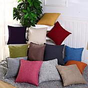 1 PC Algodón / Lino Cobertor de Cojín / Funda de almohada, Un Color / Novedad Casual / Tradicional / Clásico